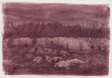 Transit - Excavated land - Winterslag, Genk  Anthotype, 46 x 61cm, Blackberry emulsion on paper, Contactprint, Exposure: 4 weeks, Kristof Vrancken